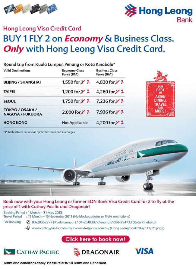 Hong Leong Visa Credit Card cardholders - BUY 1 FLY 2 with Cathay Pacific & Dragonair