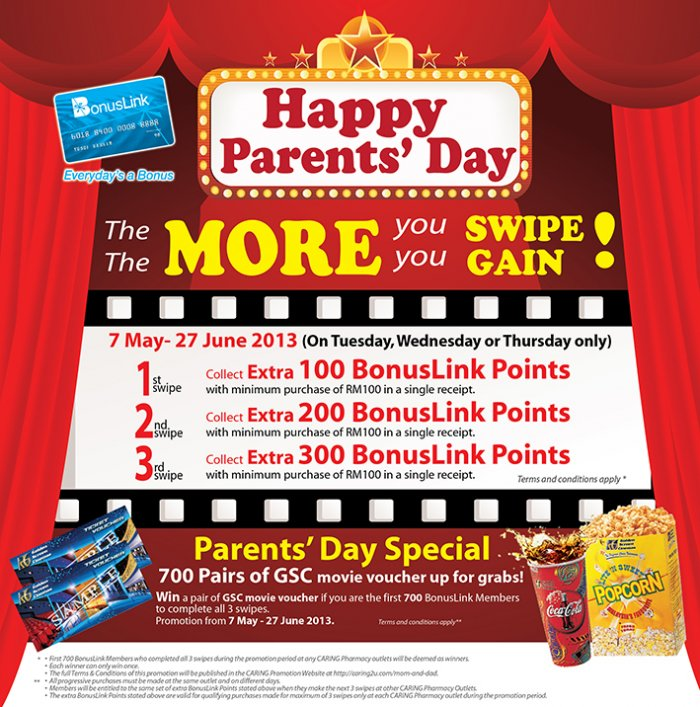Caring Pharmacy Mother's Day Specials - Free GSC Movie Tickets