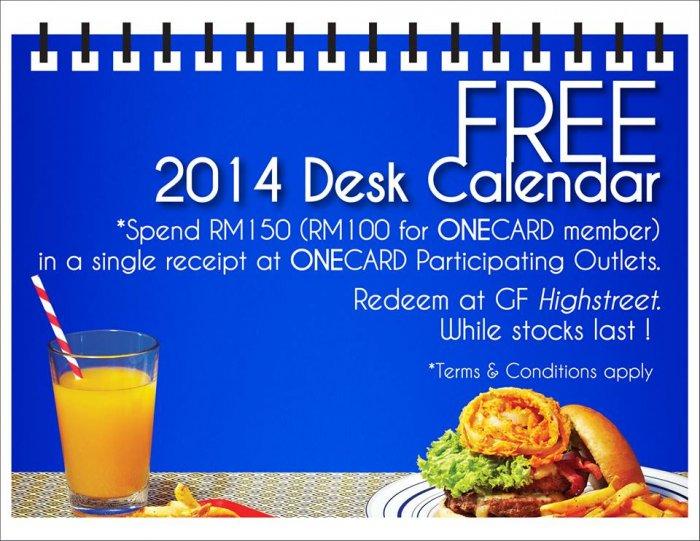 Free 2014 Desktop Calendar for Shopping at 1 Utama ...