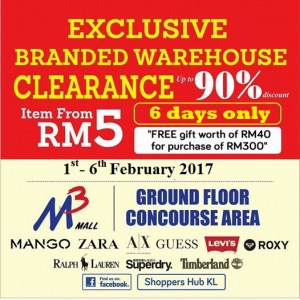 Exclusive Branded Warehouse Sale @   M3 Mall, Kuala Lumpur