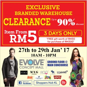 Exclusive Branded Warehouse Sale @ EVOLVE Concept Mall
