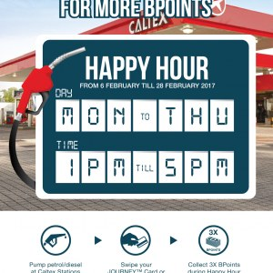 3X B Infinite BPoints During Happy Hours at Caltex Stations