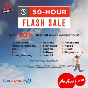 AirAsia 50-Hour Flash Sale - Up to 50% OFF to Asean Destinations