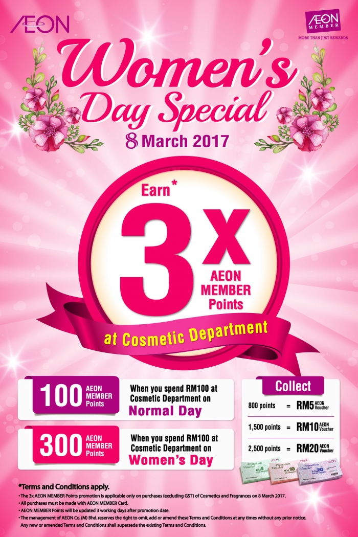 3X AEON Member Points For Purchase of Cosmetics & Frangrances on Women's Day