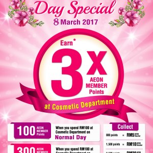 3X AEON Member Points For Purchase of Cosmetics & Frangrances on Women