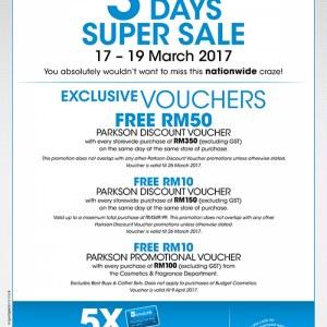 Parkson Stores 3 Days Super Sale with 5X Bonuslink Points