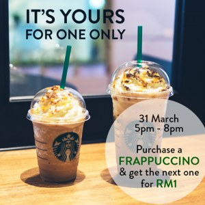 Additional Frappuccino For Only RM1 at Starbucks Malaysia