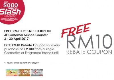 KL Sogo Price Slash - Free RM10 Rebate Coupon