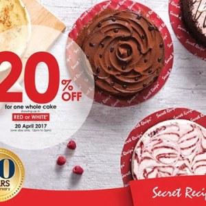 Secret Recipe 20th Anniversary April Promotion - 20% OFF A Whole Cake