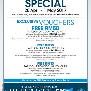 Parkson 4-Days Pre-Holiday Special