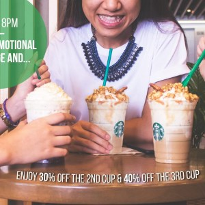 30% OFF 2nd Cup of Frappuccino Every Friday at Starbucks