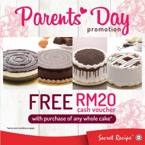 Free RM20 Cash Voucher For Purchase Of Whole Cake @ Secret Recipe