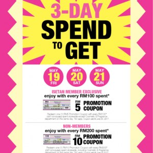 Isetan 3-Days Exclusive - Free Promotion Coupon on Purchase