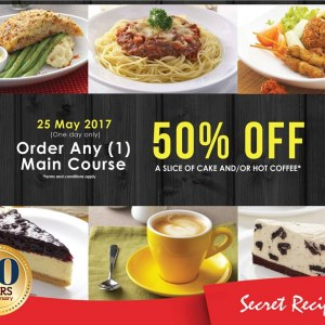Secret Recipe 20th Anniversary Promotion - 50% OFF A Slice of Cake or Coffee