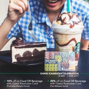 20% OFF Your Food & Beverage at Starbucks for Hari Gawai and Pesta Kaamatan