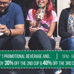 30% OFF 2nd Cup & 40% OFF 3rd Cup of Frappuccino at Starbucks