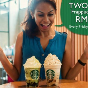 Two Tall Frappuccino for only RM25 @ Starbucks on Every Friday of June 2017