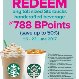 Redeem Any Tall Sized Starbucks Drink with only 788 BCard Bpoints
