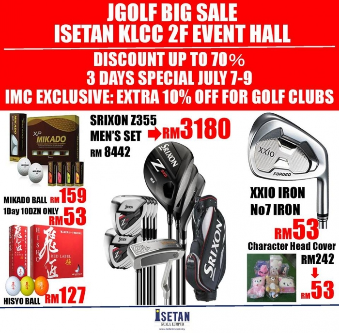 Jgolf Big Sale @ Isetan KLCC - Discounts Up To 70%