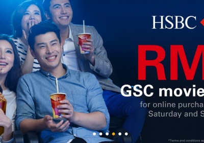 Flat RM8 GSC Movie Ticket with HSBC Credit Card Every Saturday & Sunday
