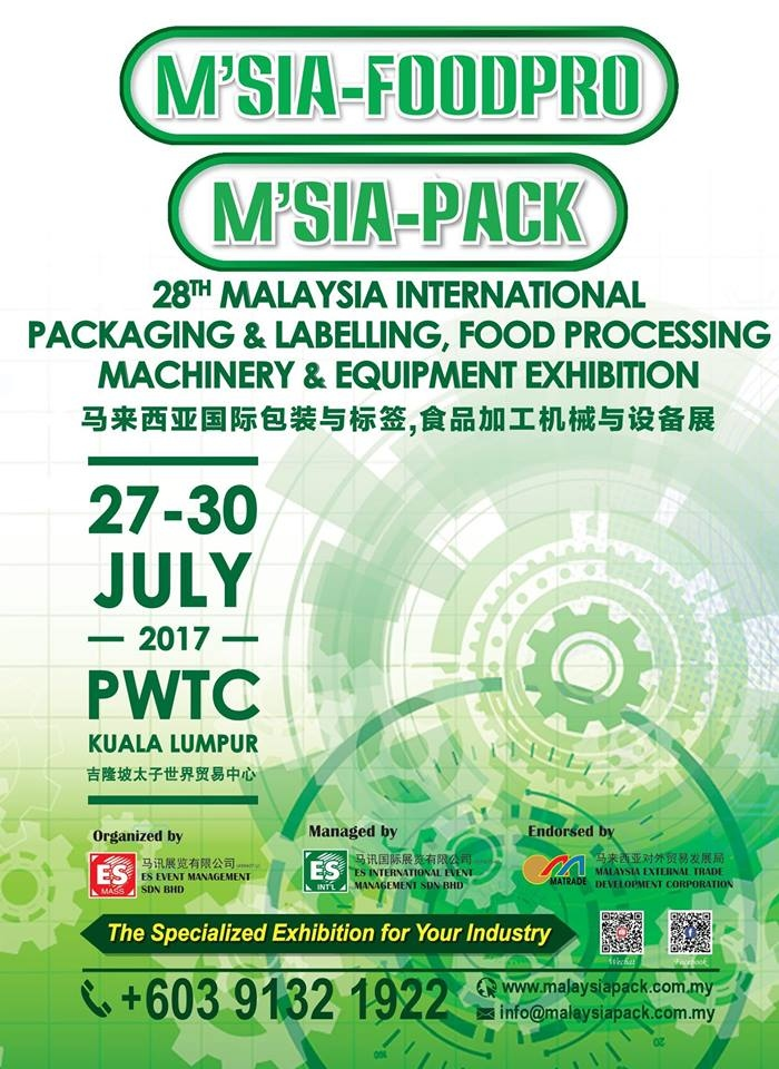 28th Malaysia International Packaging & Labeling Food Processing Machinery & Equipment Exhibition 2017