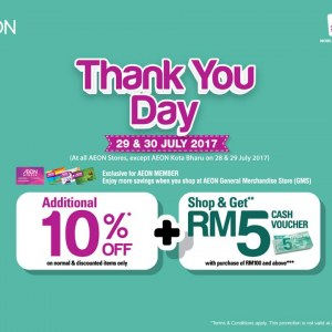 AEON Thank You Day - Additional 10% OFF + Cash Voucher