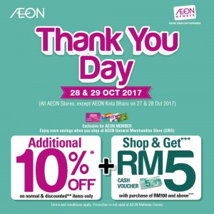 AEON Thank You Day - Additional 10% OFF + RM5 Voucher