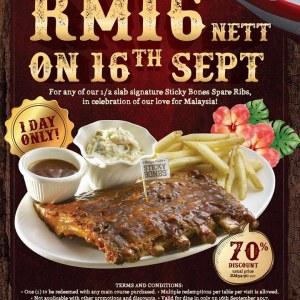 Morganfields's Malaysian Day Love - Only RM16 for Sticky Bones Spare Ribs