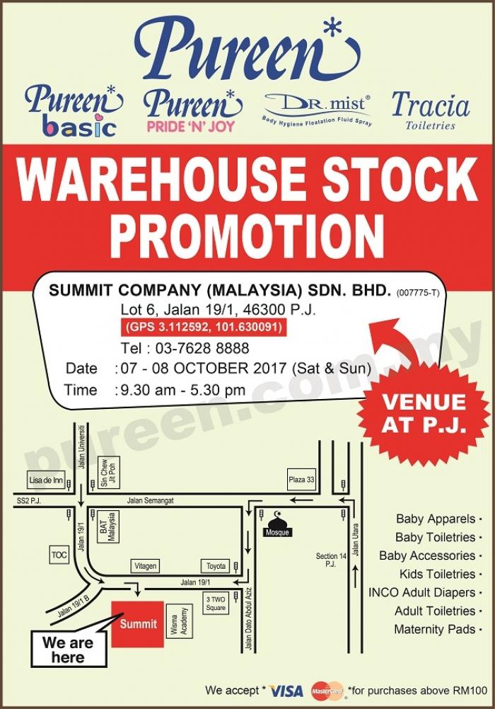 Pureen Warehouse Stock Promotion - Petaling Jaya (October 2017)