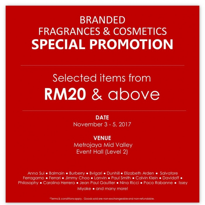 Metrojaya Branded Fragrances & Cosmetics Special Promotion
