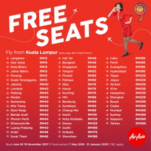 AirAsia Year-End Free Seats Promotion