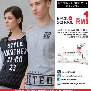 Cheetah Apparel Warehouse Sale - From RM1 Onwards