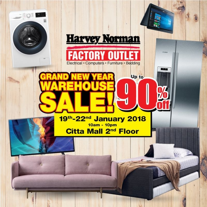 Harvey Norman Grand New Year Warehouse Sale @ Citta Mall 2018