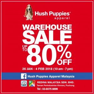 26 Jan - 4 Feb 2018: Hush Puppies Apparel Warehouse Sale