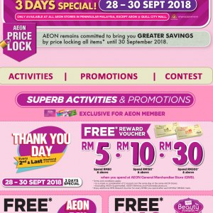 Aeon The Great Friday Sale - Free Voucher Up To RM30 Cash Value