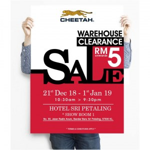 Cheetah Warehouse Clearance Sales 2018