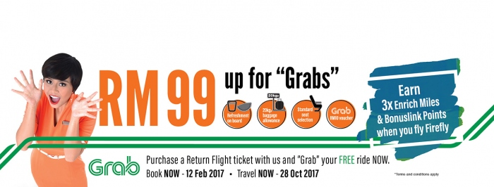 Earn Up To RM99 Offers Value For Return Flight Ticket with Firefly