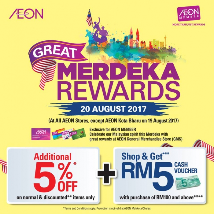 AEON Merdeka Rewards - Additional 5% OFF + RM5 Voucher