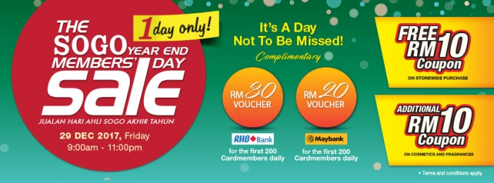 The Sogo Year End Member's Day Sale 2017