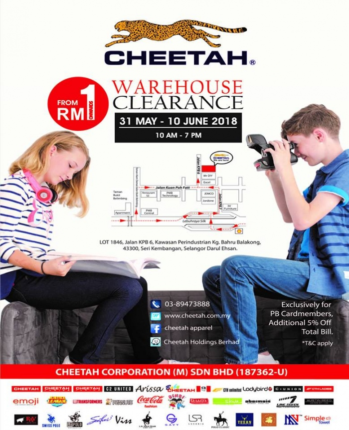 Cheetah Apparel Warehouse Sale - Deals From As Low As RM1