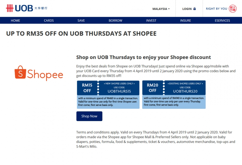 Get Discounts Up To RM35 Every Thursday on Shopee App with UOB Cards