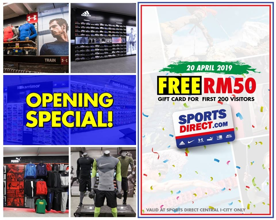 Sports Direct Central i-City Mall Superstore Opening Specials