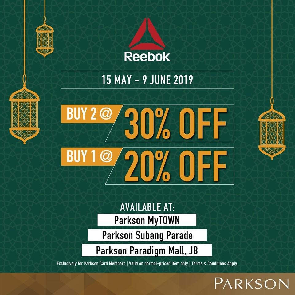 Reebok Ramadan Promotion @ Parkson - Up To 30% OFF