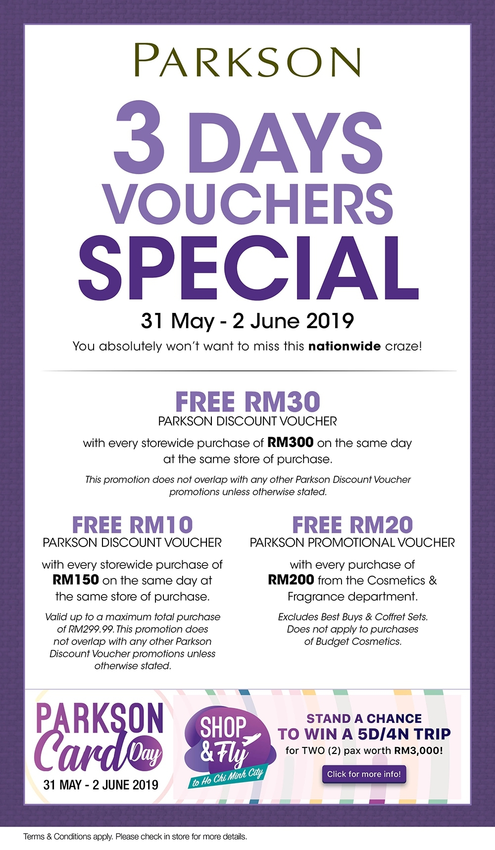 Parkson Card Day - 3 Days Voucher Special