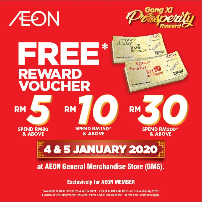 AEON Gong Xi Prosperity Rewards - Free Voucher on Purchase