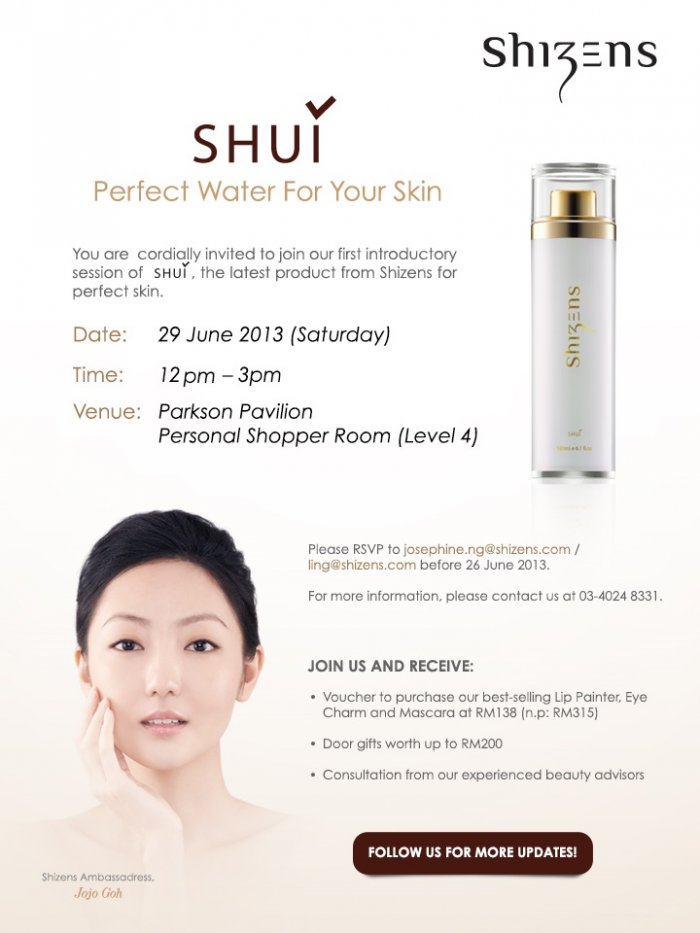 Shizens SHUI Perfect Water For Your Skin Introduction Session