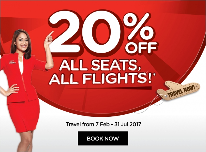AirAsia 20% Off All Seats All Flights
