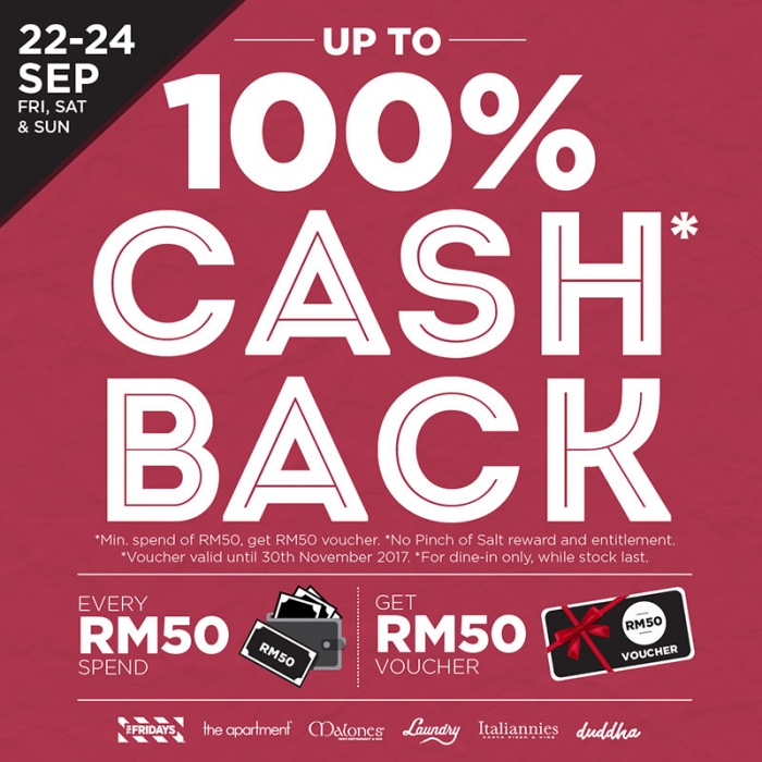 RM50 Voucher for Every RM50 Spend at Chaswood's Brand Restaurants
