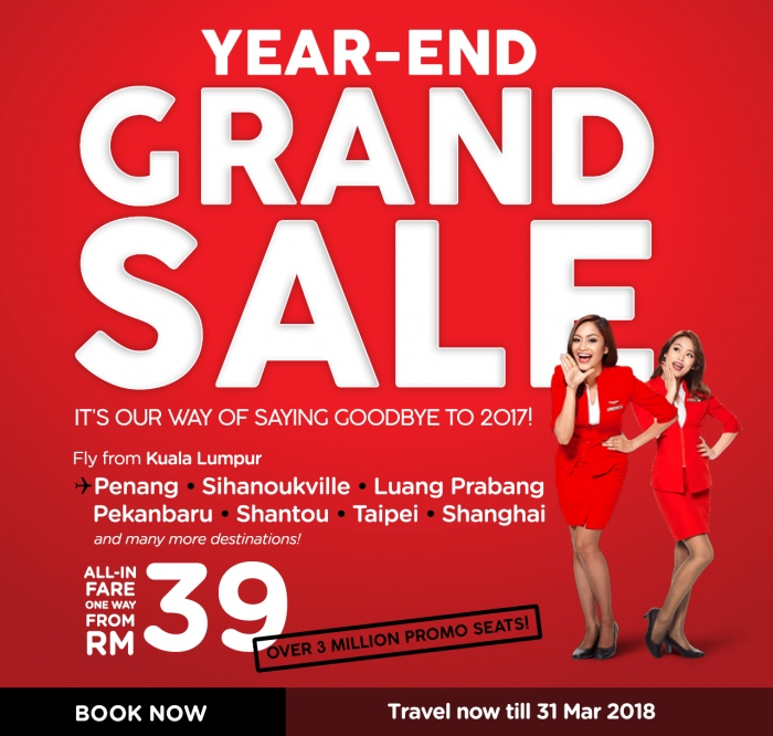AirAsia 3 Million Year-End Grand Sale 2017