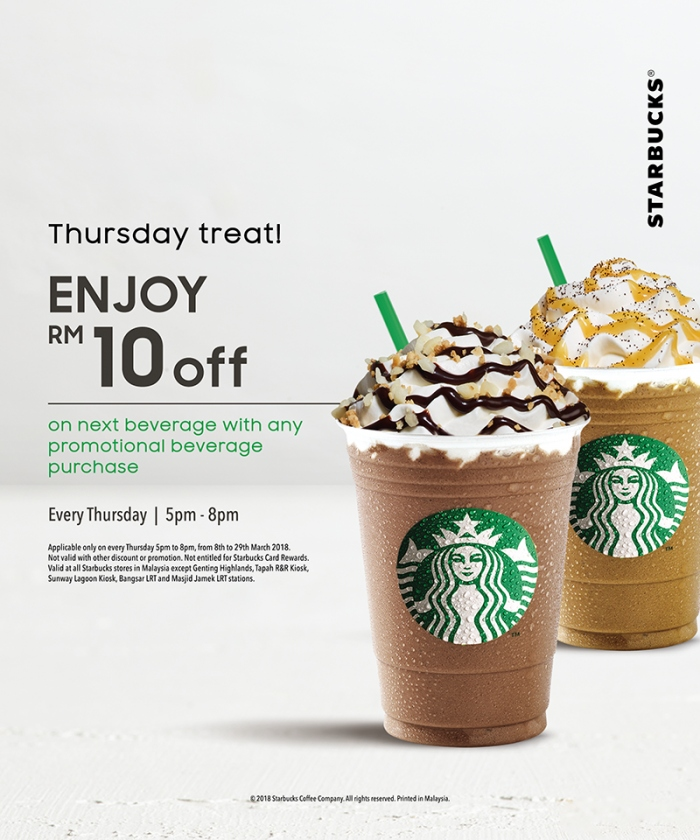 Starbucks Thursday Treat - RM10 OFF Next Beverage